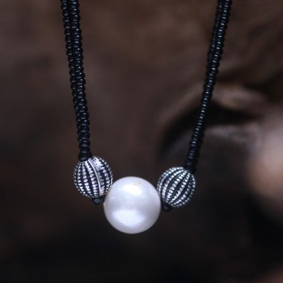 Pearl Silver Mangalsutra - Big beads