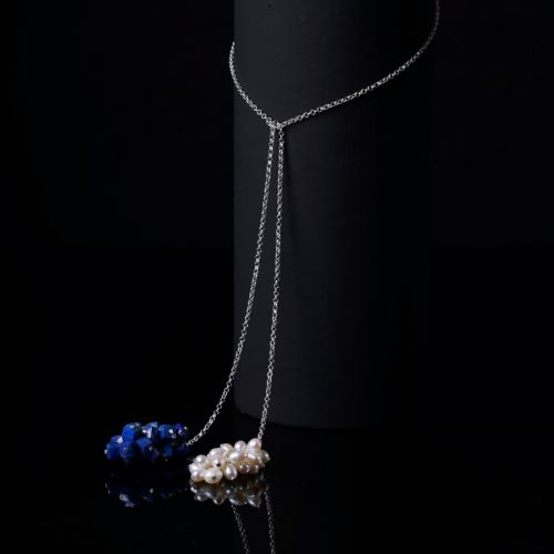 Tie and Wear Necklace - Lapis lazuli , Pearls
