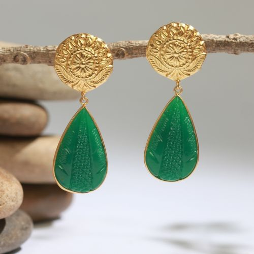 Brass Earrings with Drop Flower Motif (Matte Gold Finish)